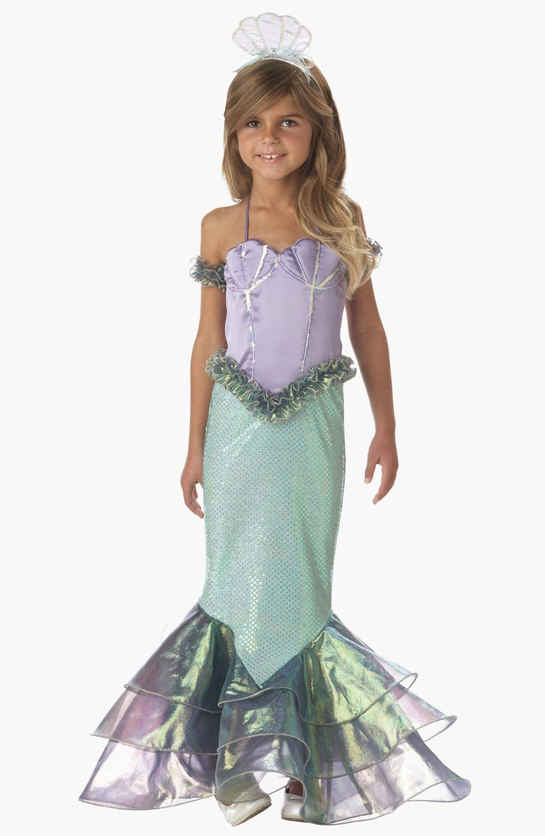 Alternate Image 1 Selected - InCharacter Costumes 'Magical Mermaid' Dress & Headband (Little Girls & Big Girls)