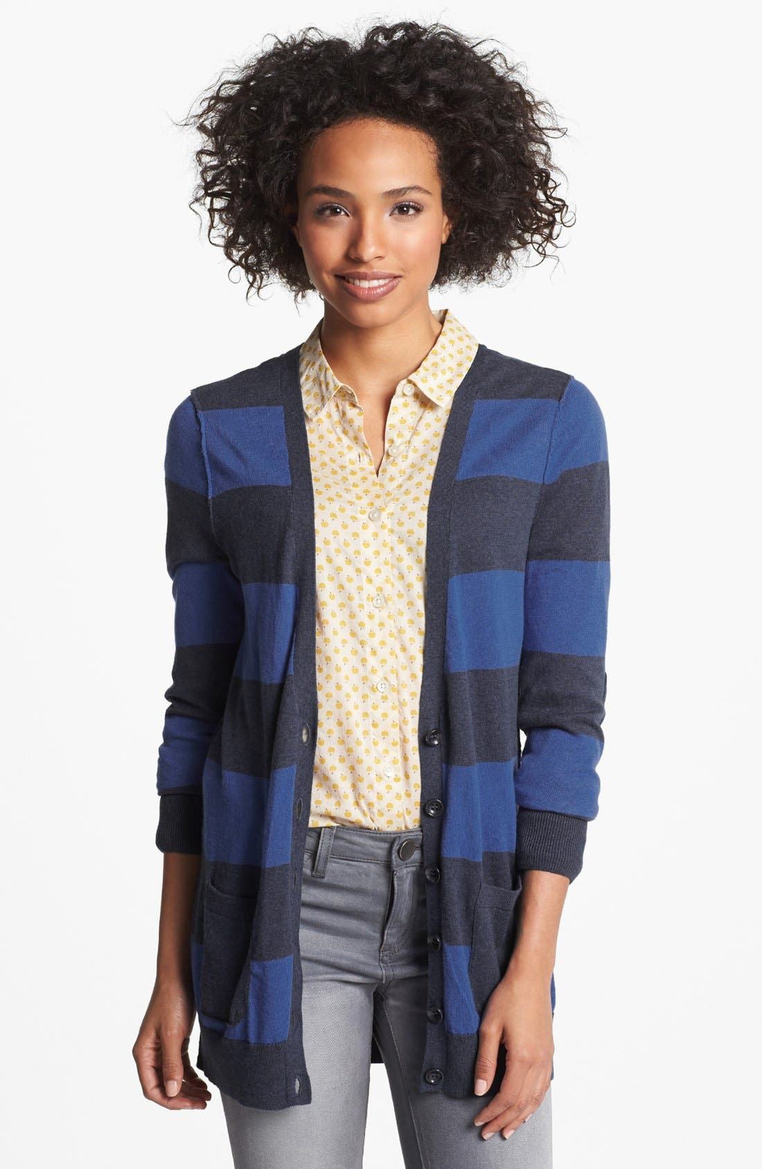 Main Image - Halogen® Elbow Patch V-Neck Cardigan