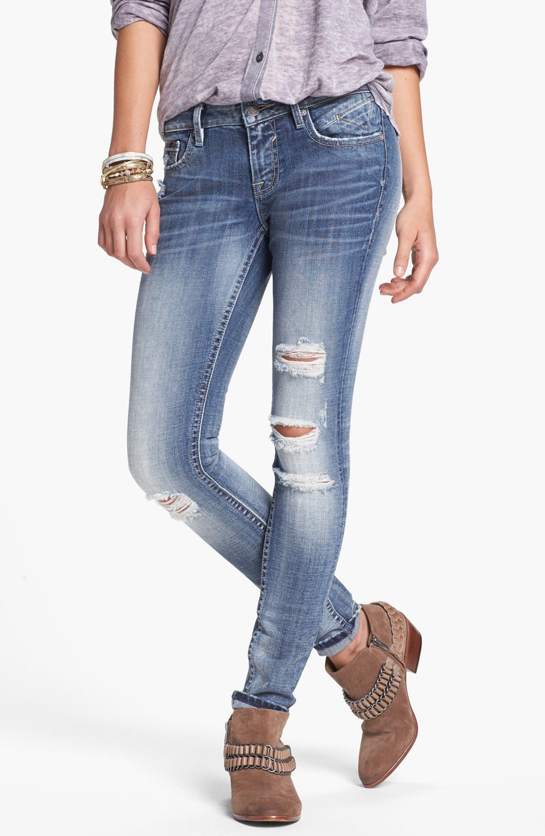Main Image - Vigoss Destroyed Skinny Jeans (Medium) (Juniors)