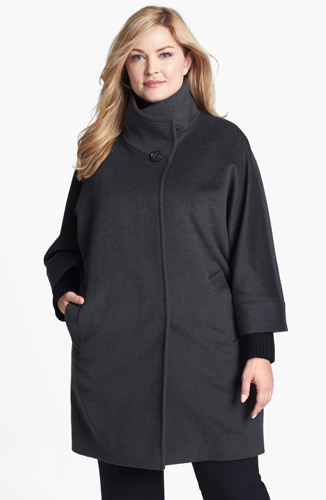 Alternate Image 1 Selected - Cinzia Rocca Knit Cuff Wool Car Coat (Plus Size)
