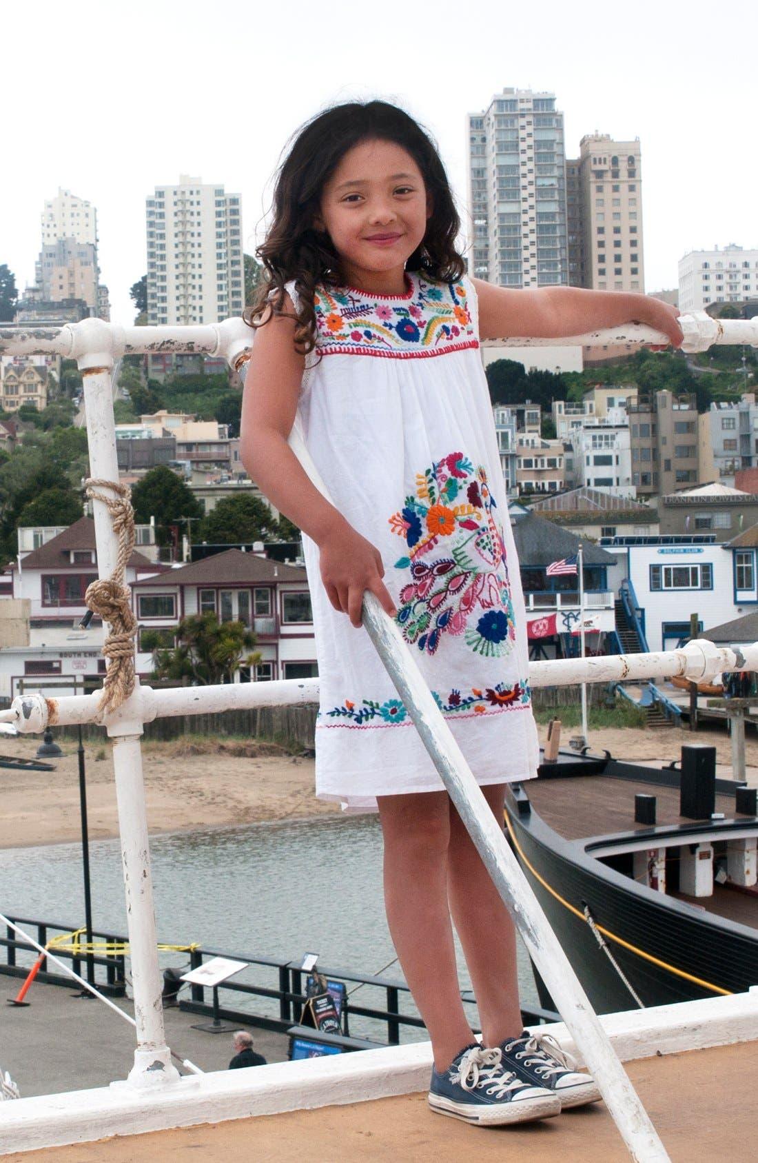 Alternate Image 2  - Peek Dress & Converse Chuck Taylor® Sneaker (Toddler Girls, Little Girls & Big Girls)