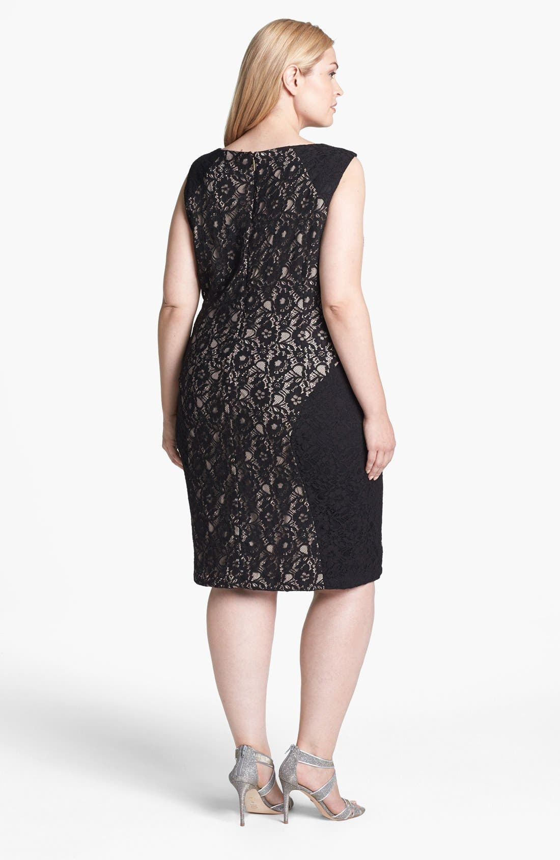 Alternate Image 2  - Donna Ricco Colorblock Lace Sheath Dress (Plus Size)