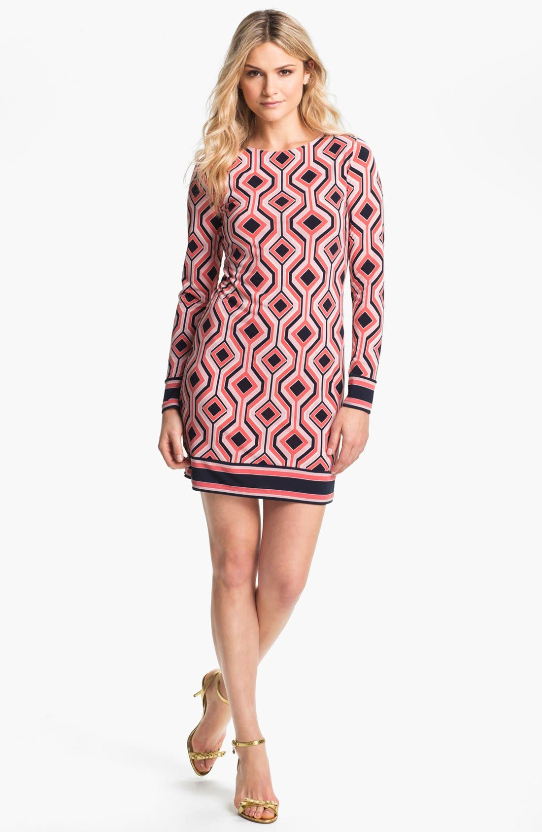 Alternate Image 1 Selected - MICHAEL Michael Kors 'Argyle' Print Shift Dress (Petite)