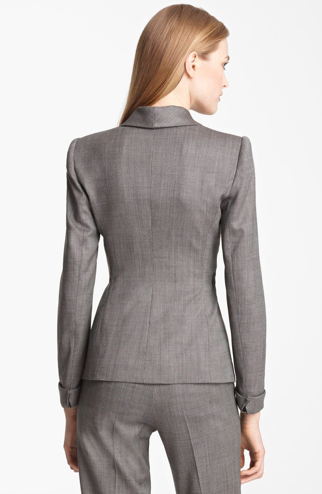 Alternate Image 3  - Armani Collezioni Asymmetrical Micro Herringbone Jacket