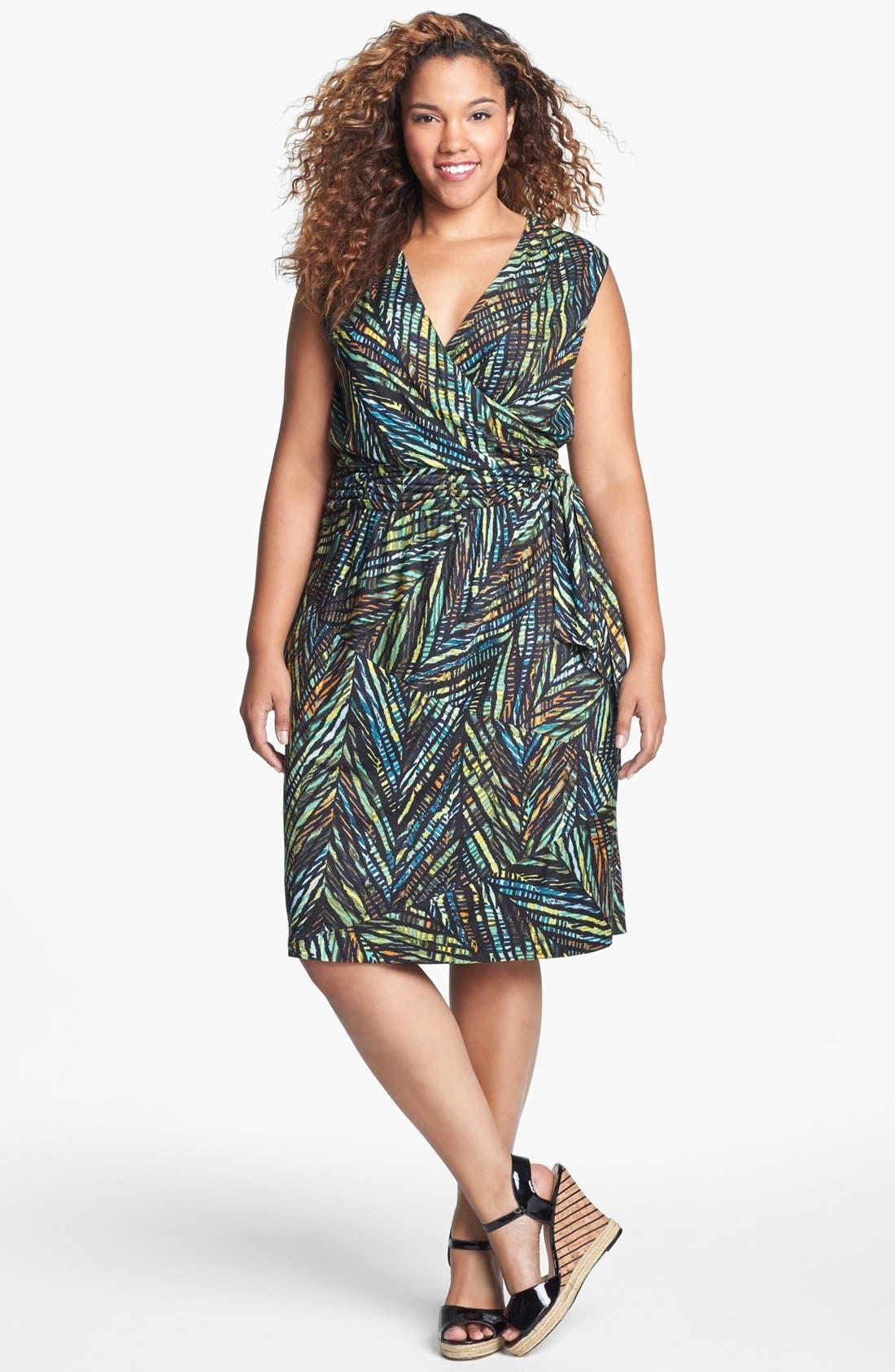 Alternate Image 1 Selected - NIC+ZOE Print Faux Wrap Dress (Plus Size)