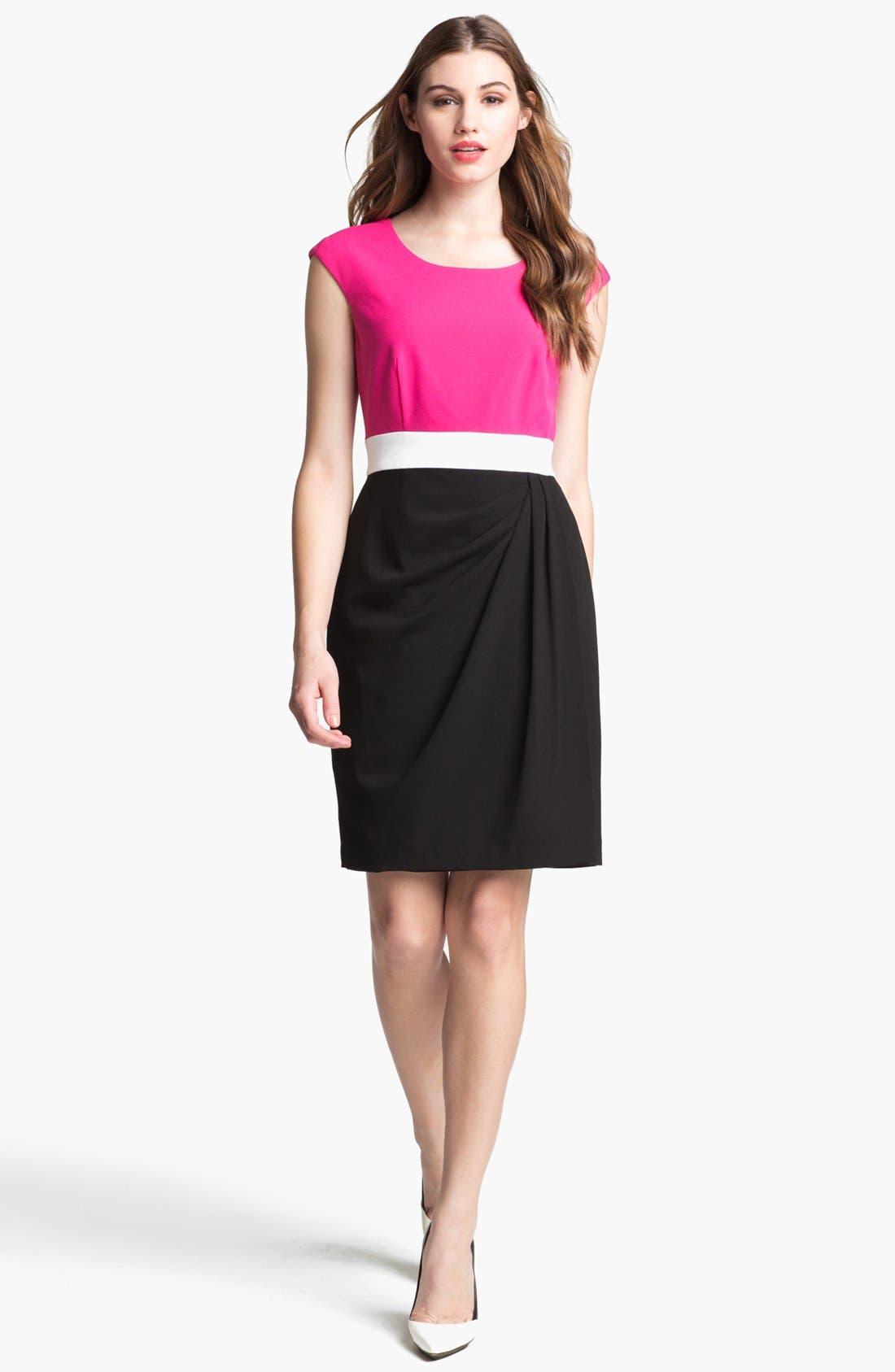 Main Image - Calvin Klein Colorblock Side Drape Sheath Dress (Petite)