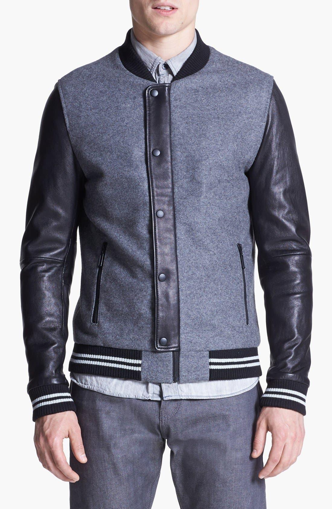 Alternate Image 1 Selected - 7 Diamonds 'Novara' Wool & Leather Varsity Jacket