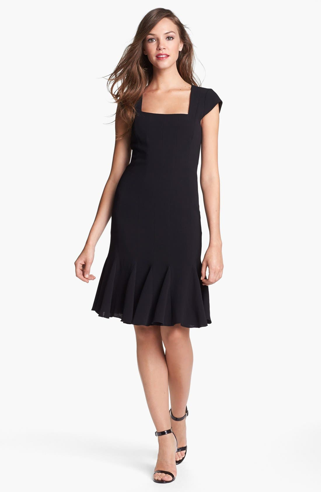 Main Image - BCBGMAXAZRIA Cap Sleeve Fit & Flare Dress
