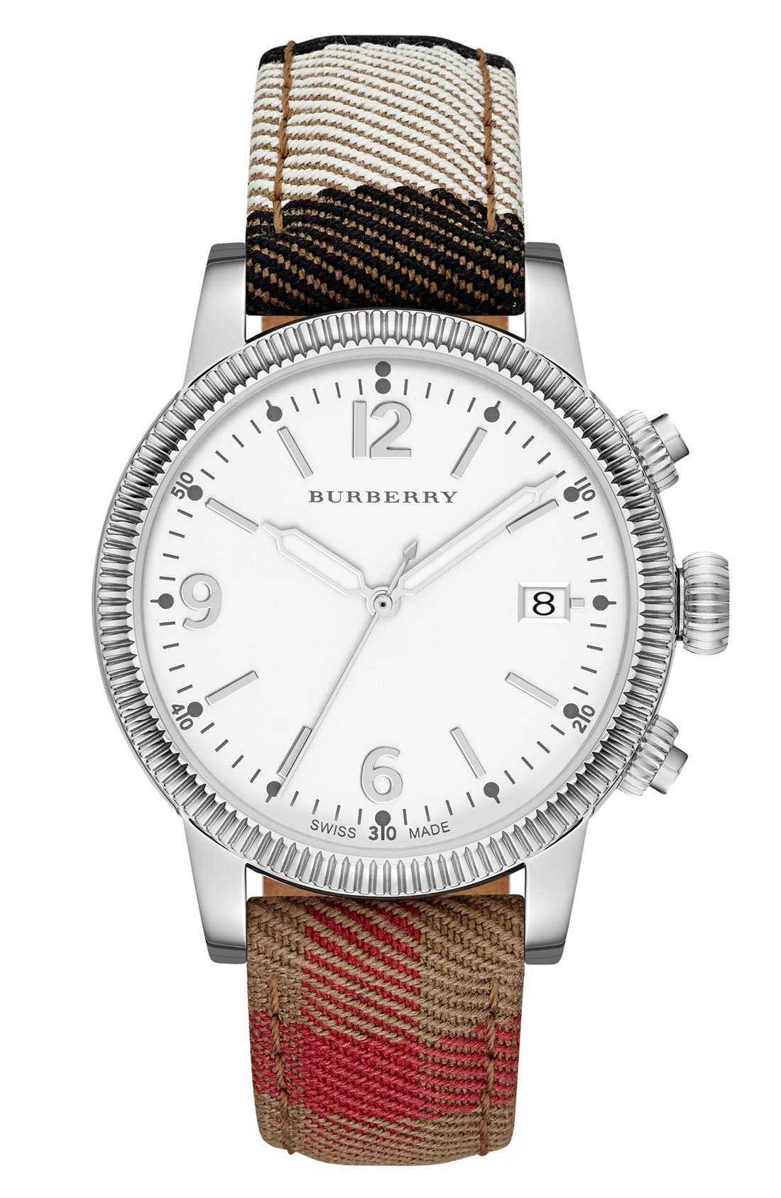 Main Image - Burberry Round Dial Check Strap Watch, 38mm