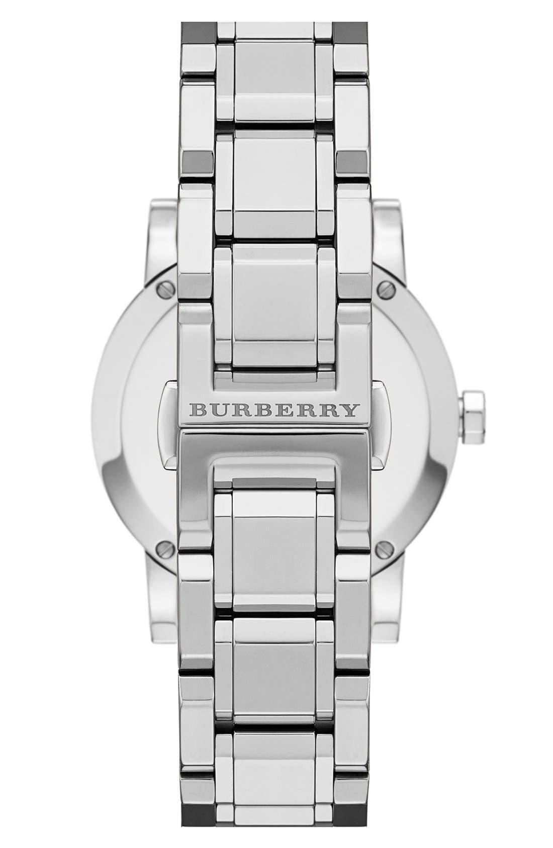Alternate Image 2  - Burberry Round Diamond Dial Bracelet Watch, 34mm