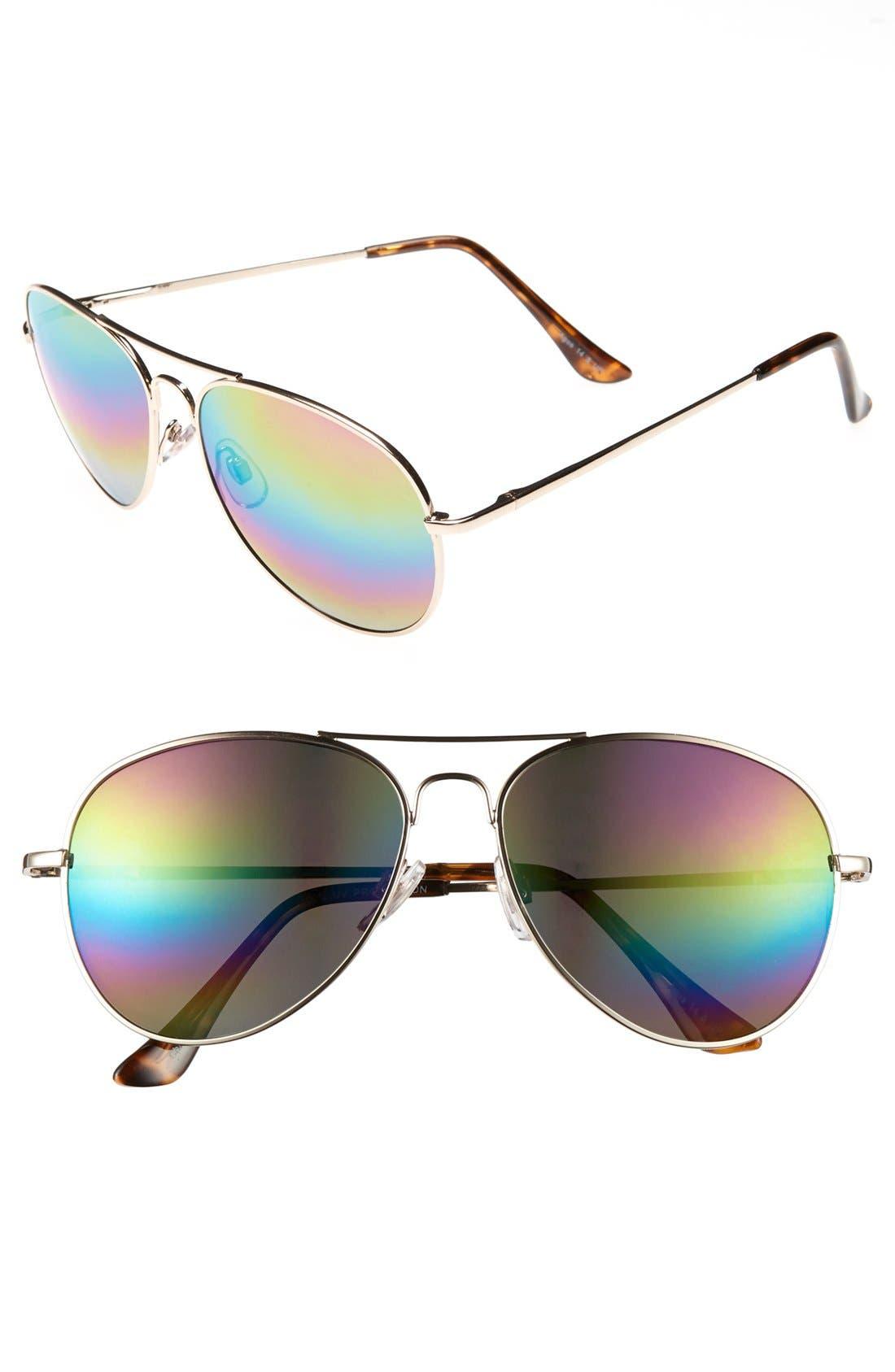 Main Image - Fantas Eyes 56mm Aviator Sunglasses (Juniors)