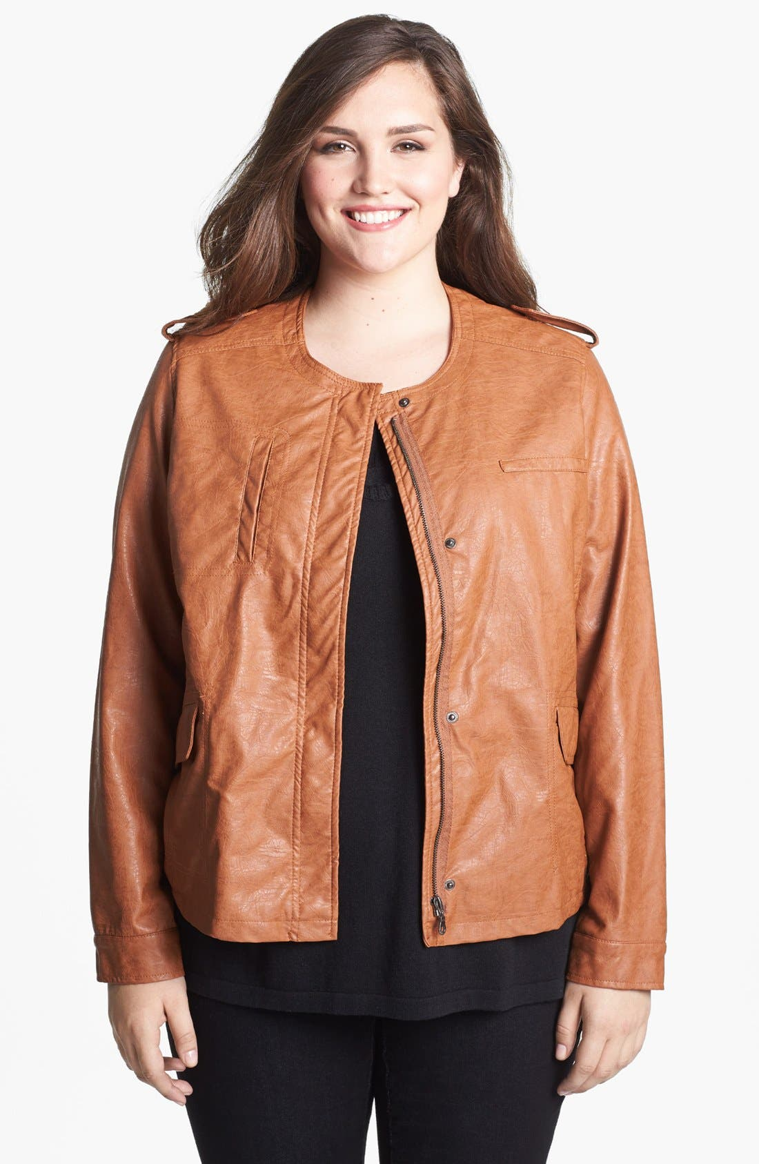 Main Image - DKNY Collarless Faux Leather Jacket (Plus Size)