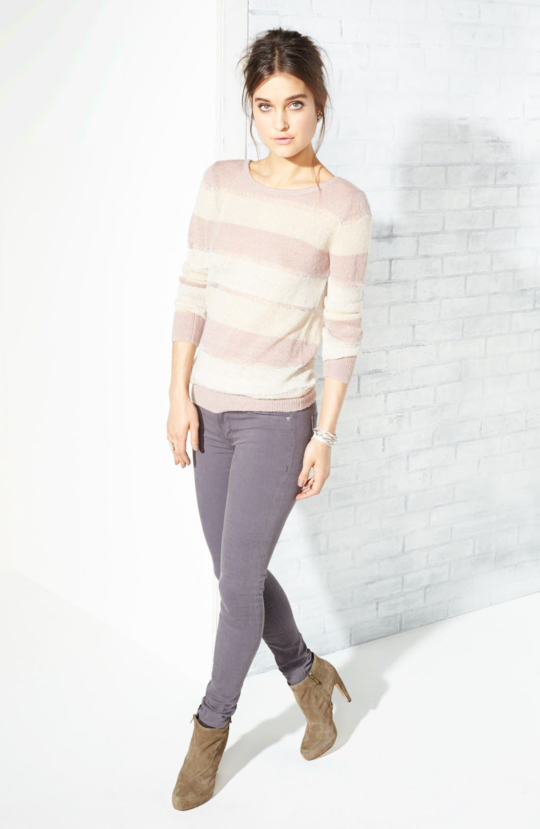 Alternate Image 4  - Hudson Jeans 'Colette' Mid Rise Skinny Jeans (Steel Grey)