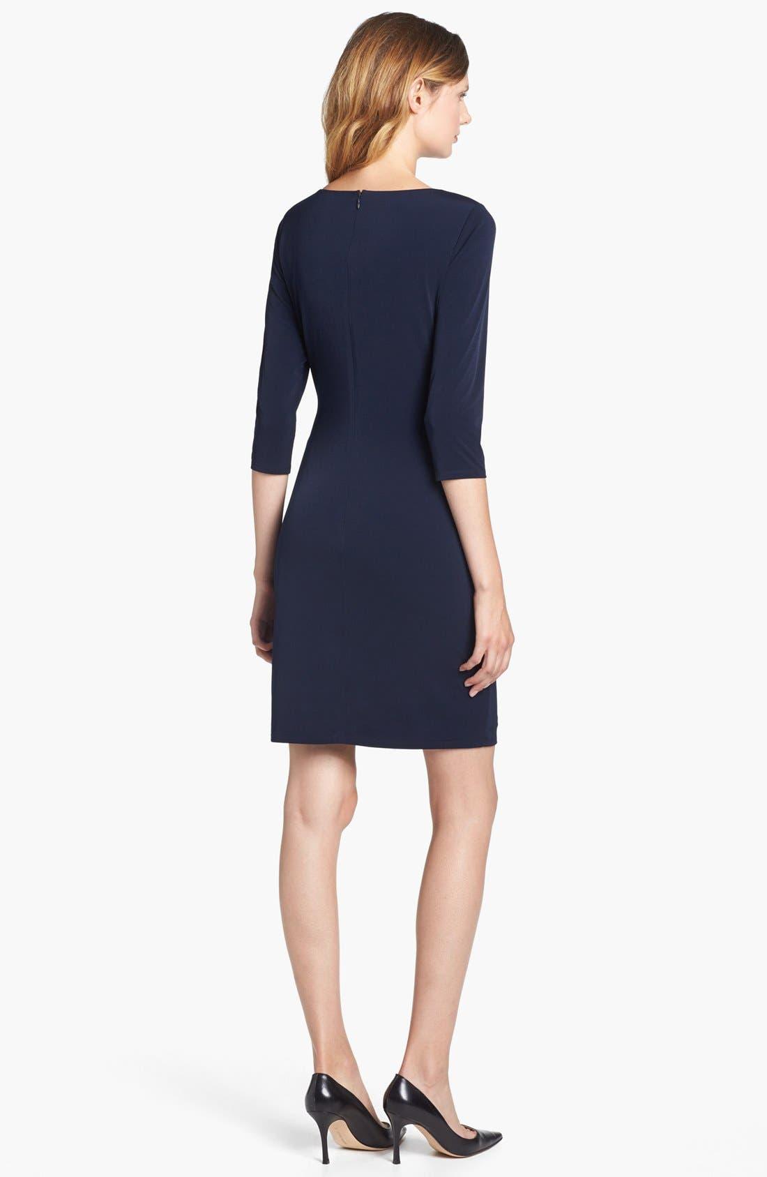 Alternate Image 2  - Calvin Klein Faux Leather Trim Draped Jersey Dress