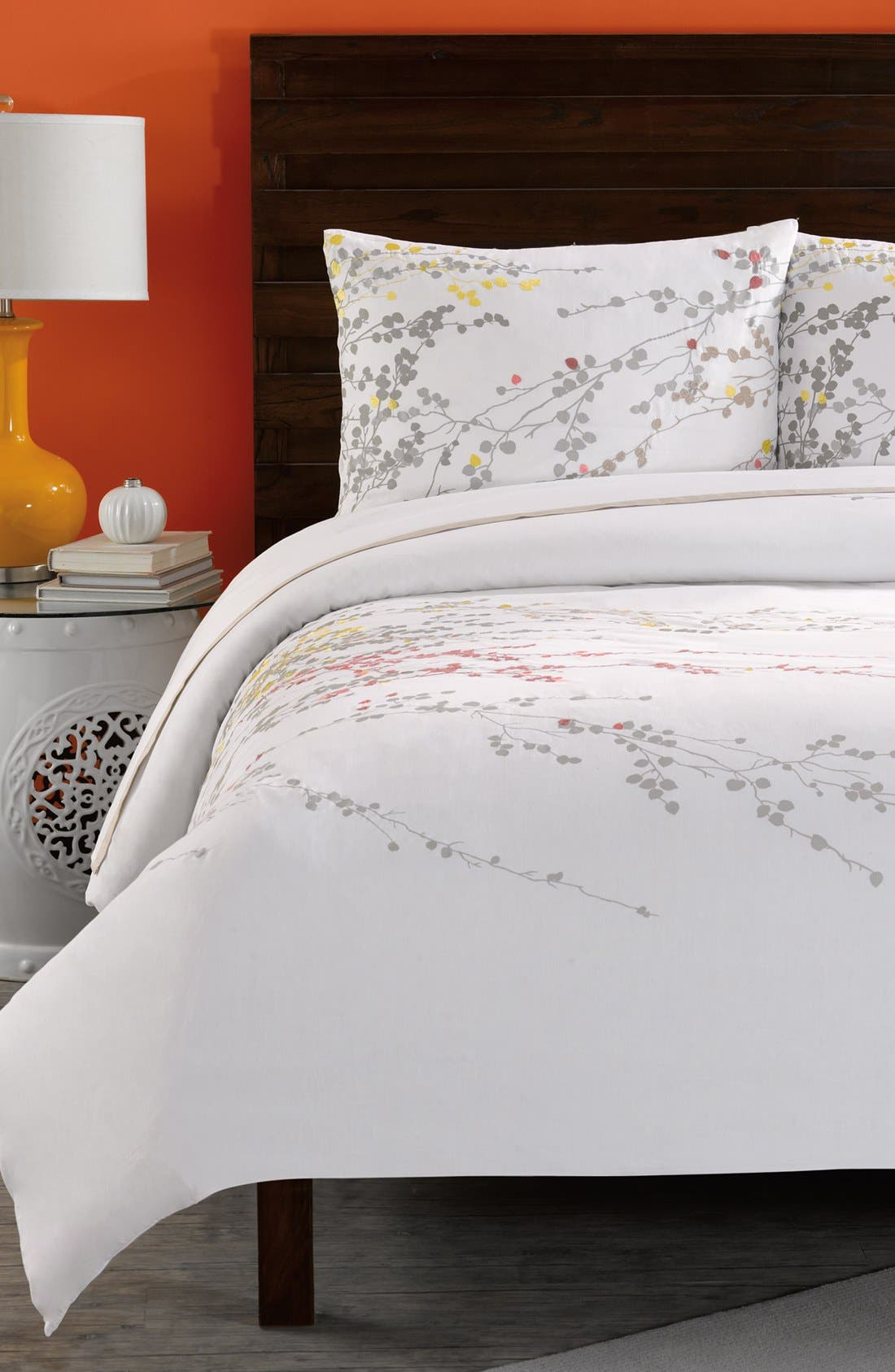 'Penny' Duvet Cover,                         Main,                         color, White/ Coral