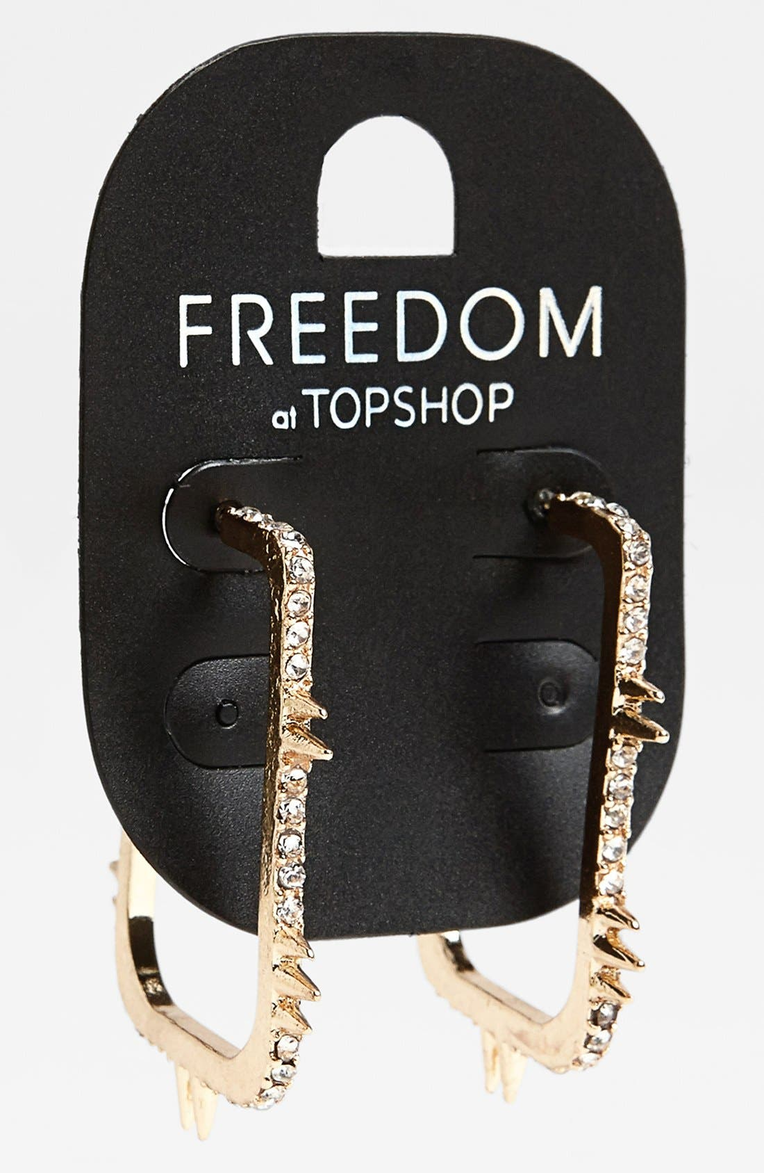 Alternate Image 1 Selected - Topshop Spike Square Hoop Earrings