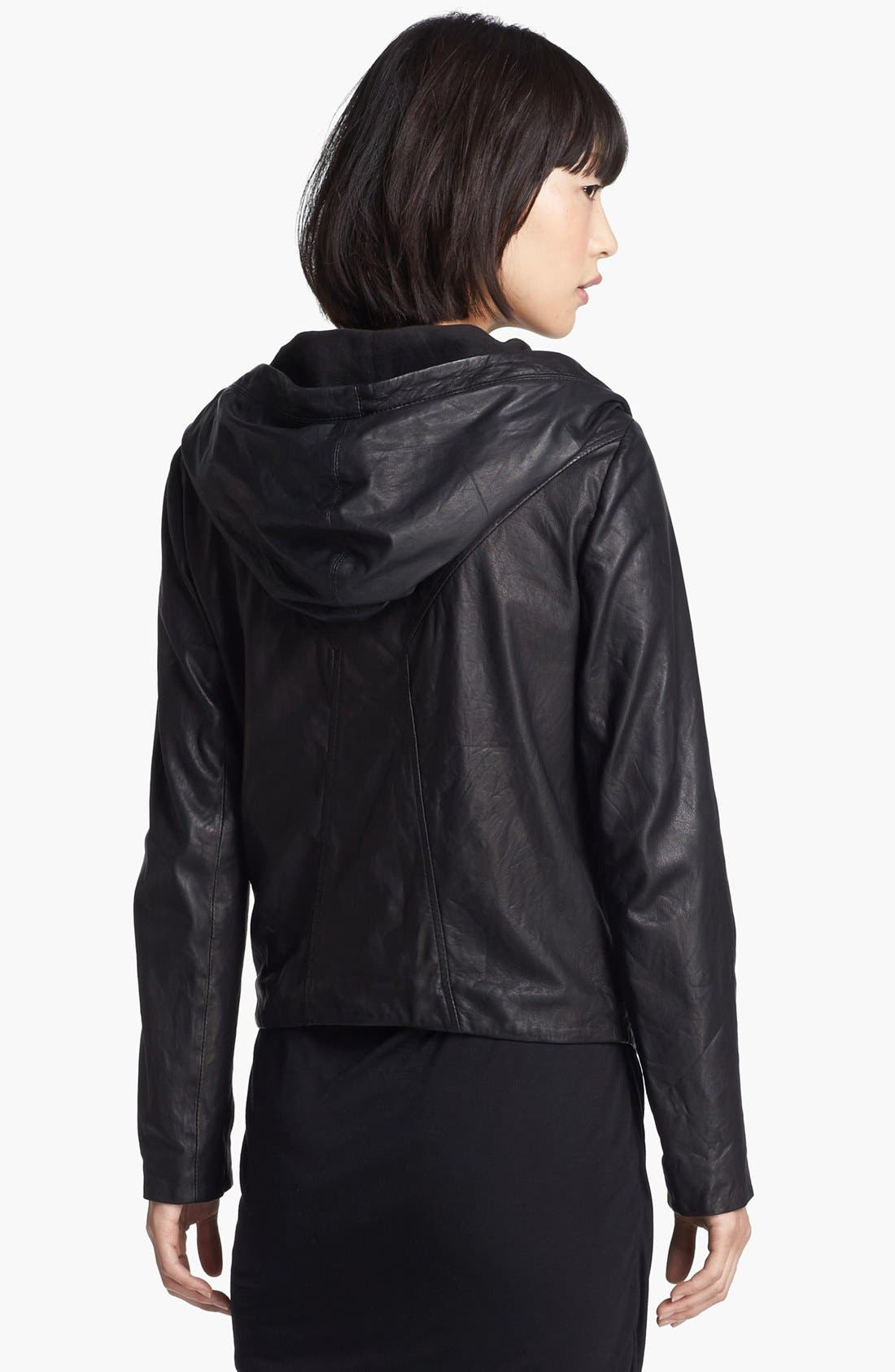 Alternate Image 3  - HELMUT Helmut Lang Hooded Washed Leather Jacket