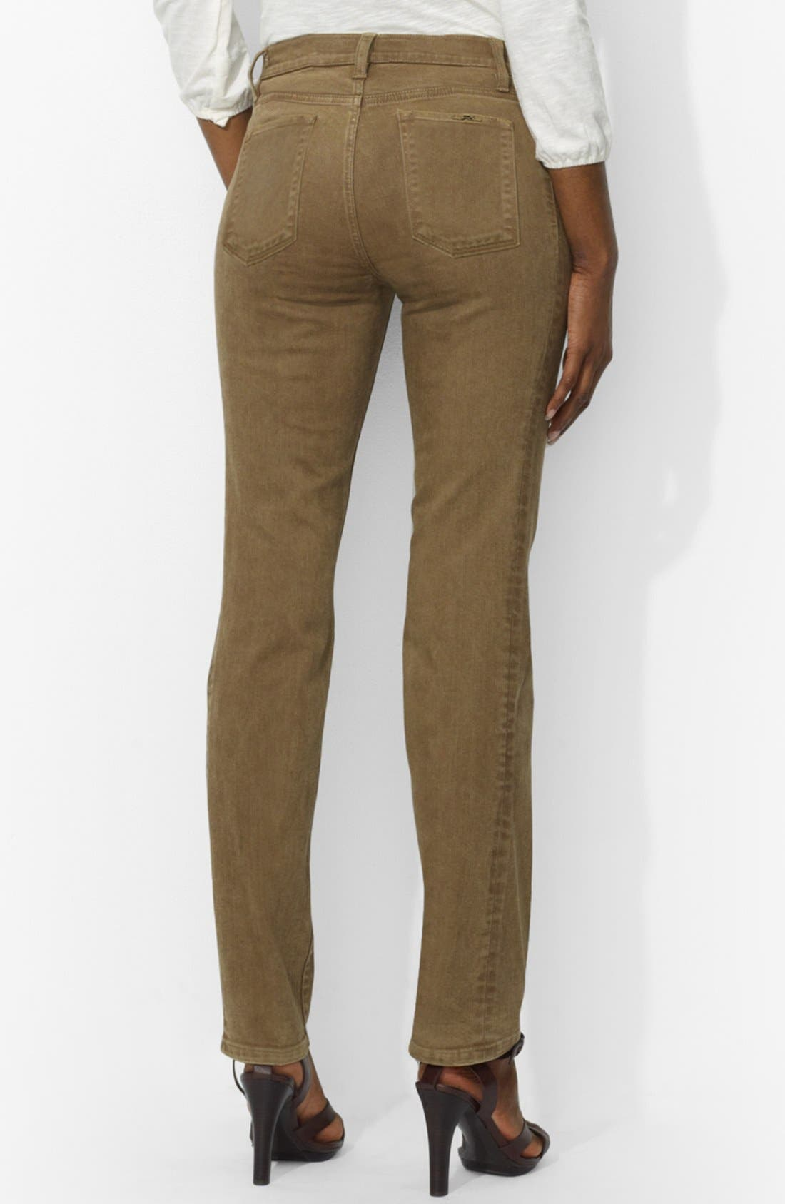 Alternate Image 2  - Lauren Ralph Lauren Colored Slim Straight Leg Jeans (Petite)