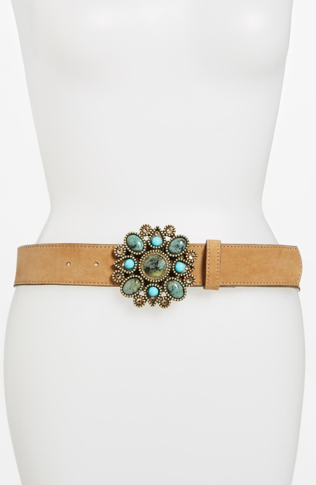 Alternate Image 1 Selected - Leatherock Turquoise Buckle Belt