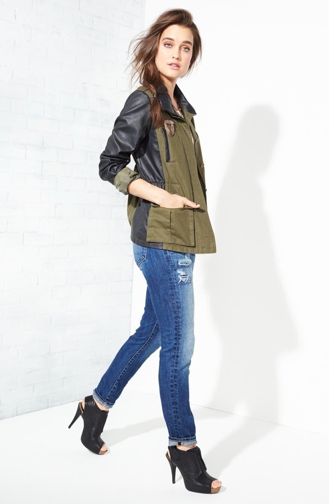 Alternate Image 2  - Bernardo Cotton & Faux Leather Anorak Jacket (Regular & Petite)