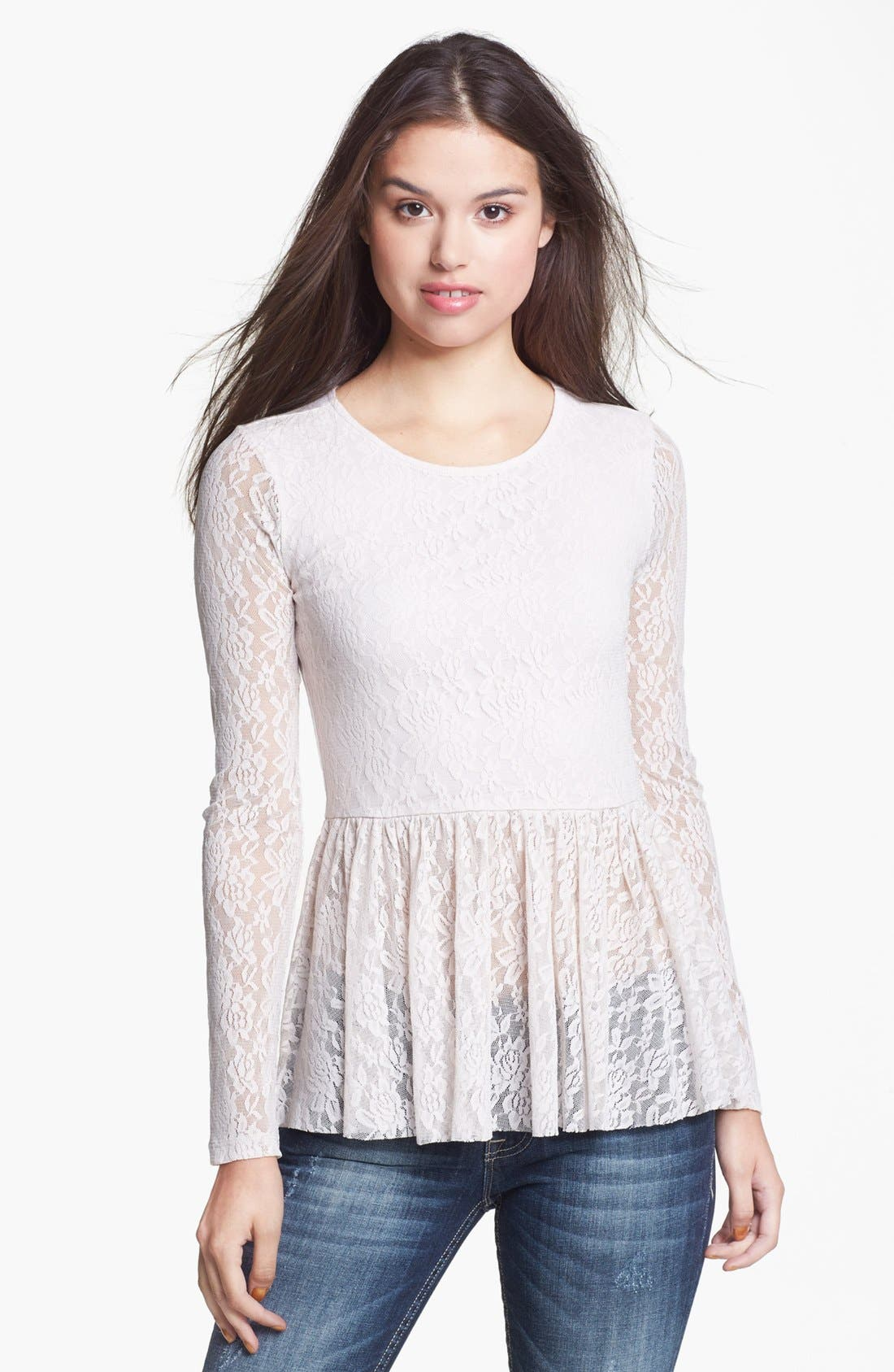 Alternate Image 1 Selected - Frenchi® Lace Peplum Top (Juniors)