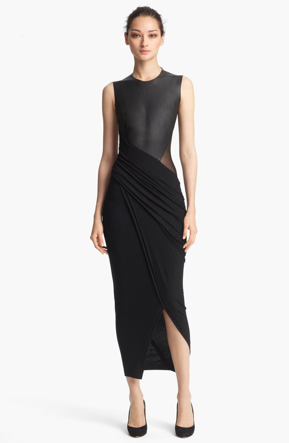 Main Image - Donna Karan Collection Sleeveless Leather & Jersey Dress