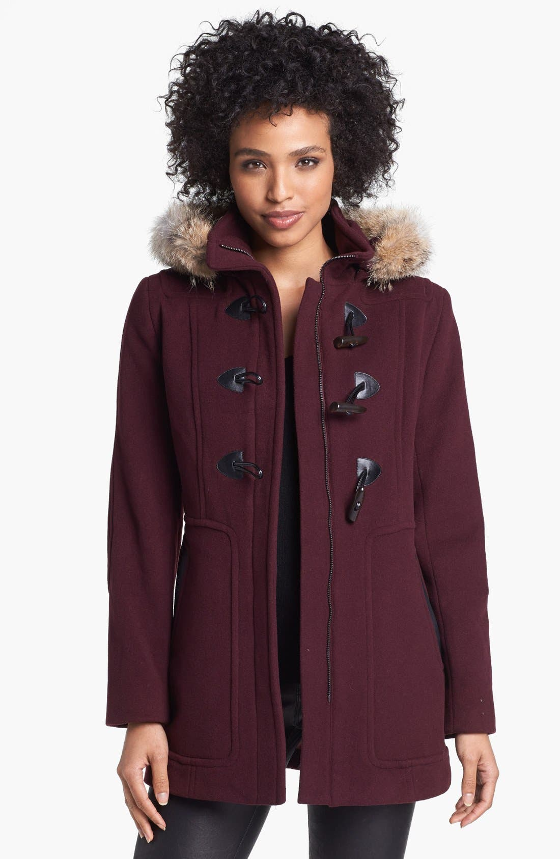 Main Image - Marc New York by Andrew Marc Duffle Coat with Genuine Coyote Fur Trim