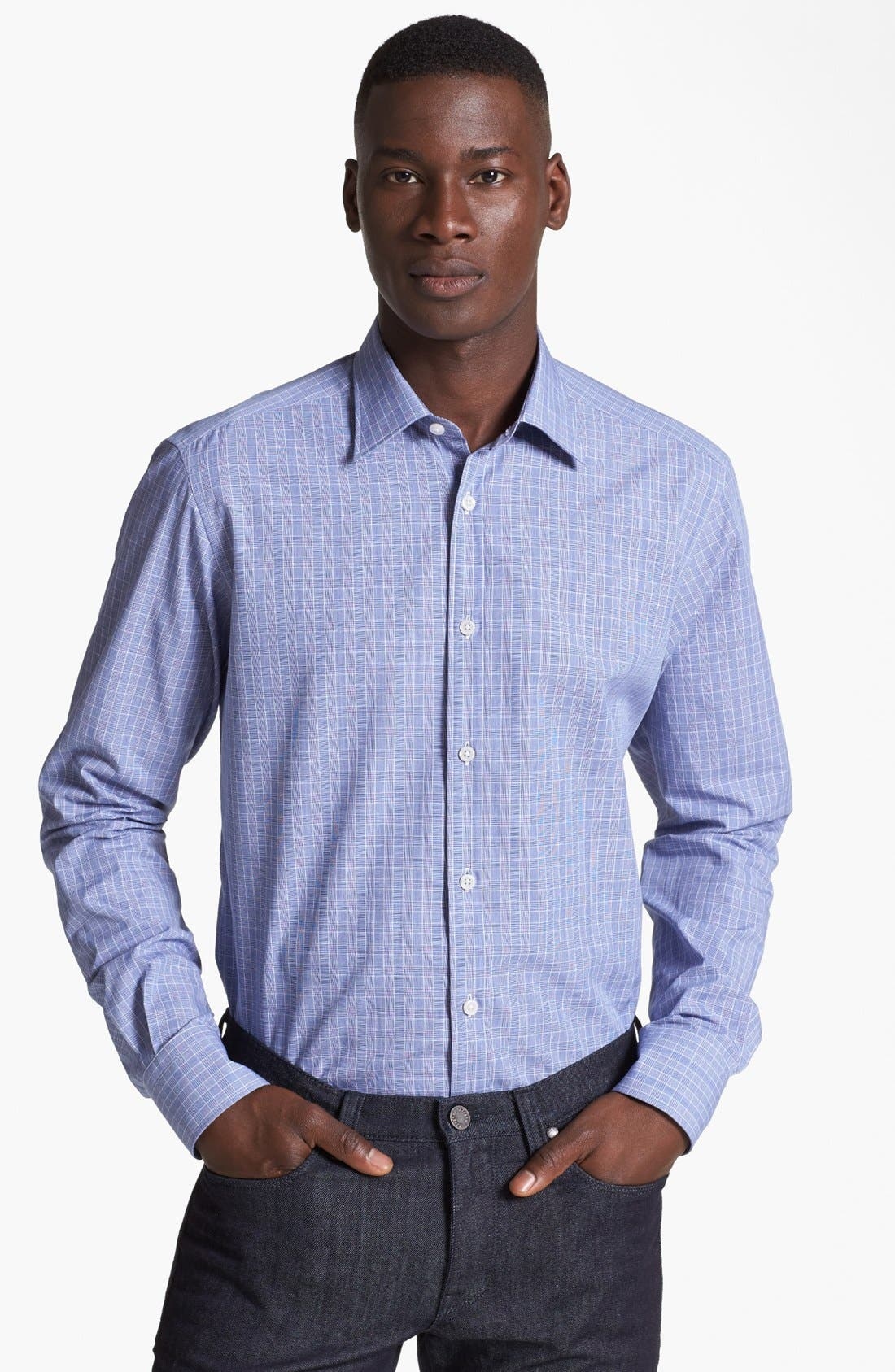 Alternate Image 1 Selected - Z Zegna Slim Fit Glen Plaid Woven Shirt