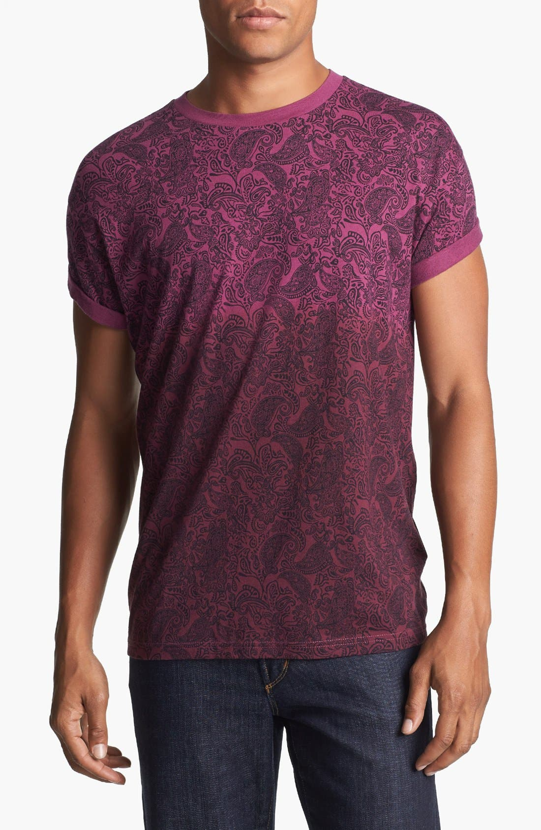 Alternate Image 1 Selected - Topman Dip Dyed Paisley Print T-Shirt