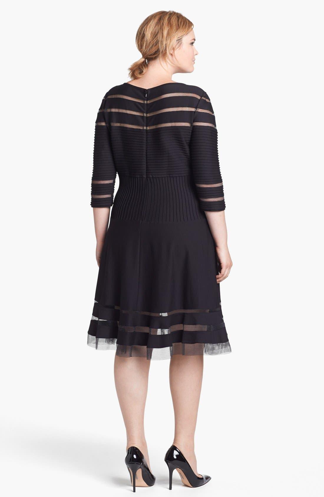 Alternate Image 2  - Tadashi Shoji Mesh Stripe Fit & Flare Dress (Plus Size)