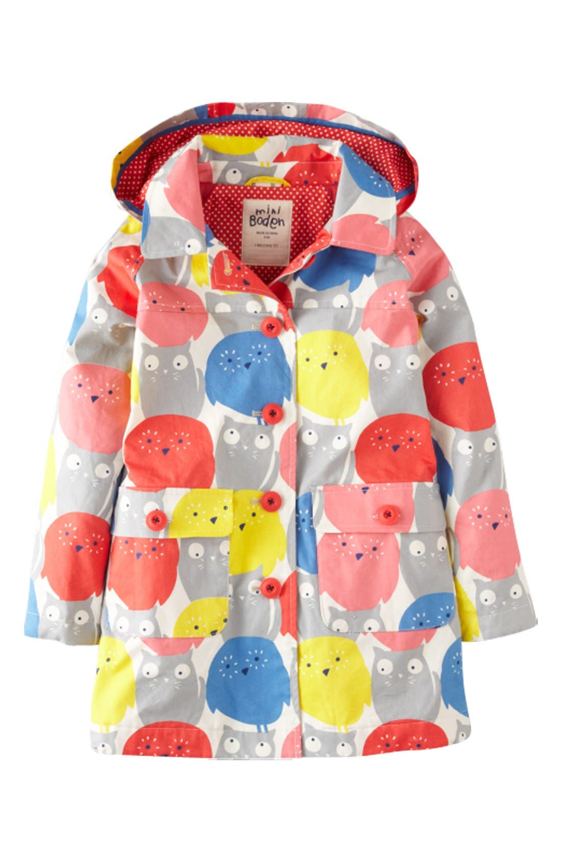 Alternate Image 1 Selected - Mini Boden 'Rainy Day' Raincoat (Toddler Girls, Little Girls & Big Girls)