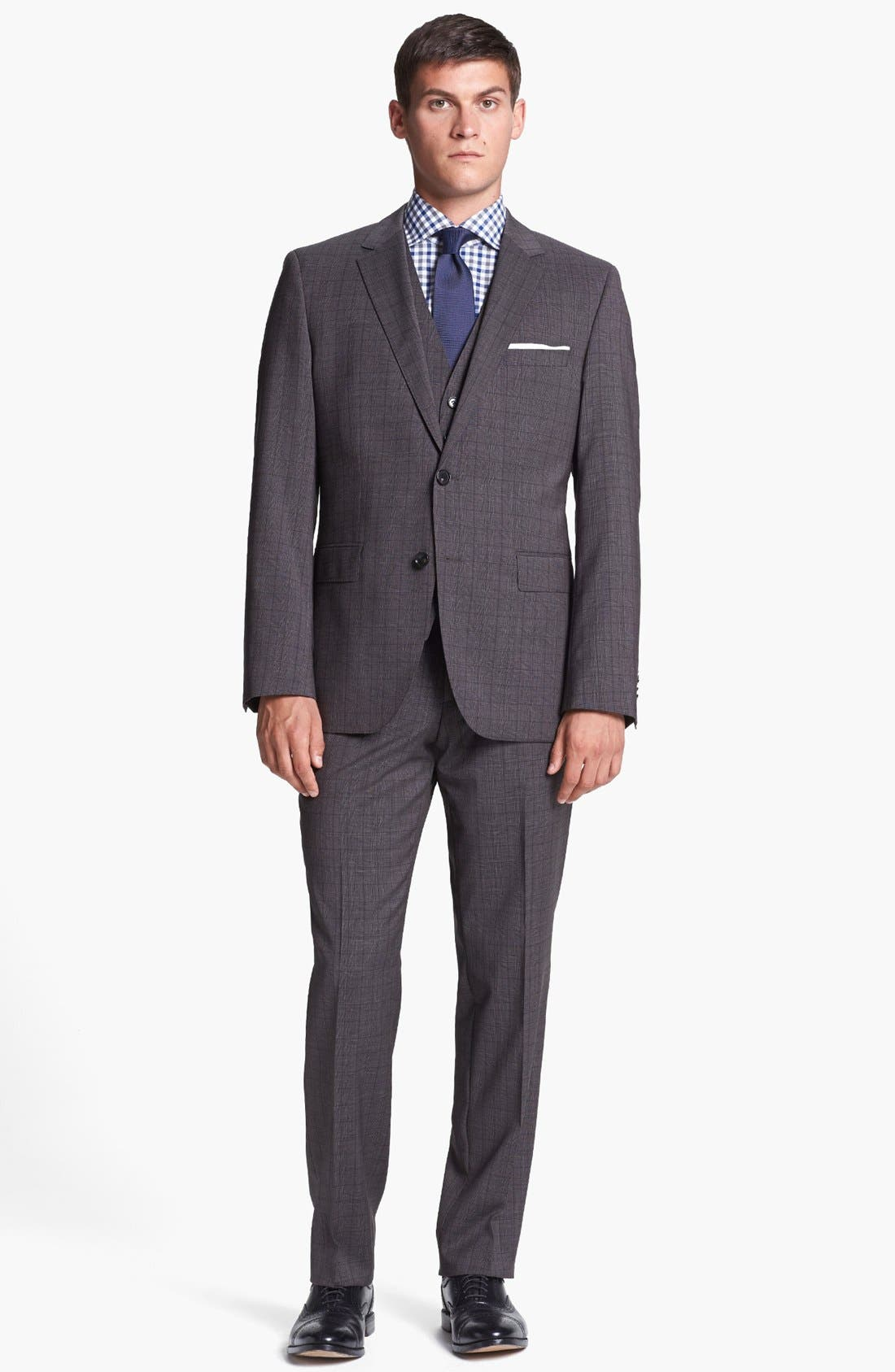 Alternate Image 1 Selected - BOSS HUGO BOSS 'James/Sharp' Trim Fit Three Piece Plaid Suit