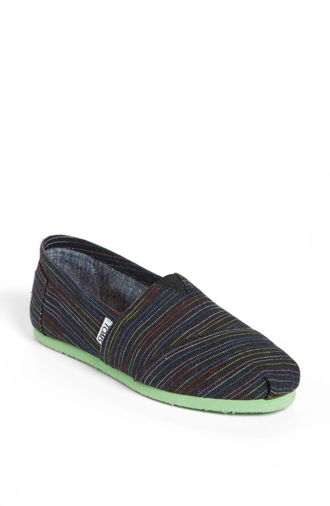 Main Image - TOMS 'Classic - Stripe Lime Pop' Slip-On (Women)
