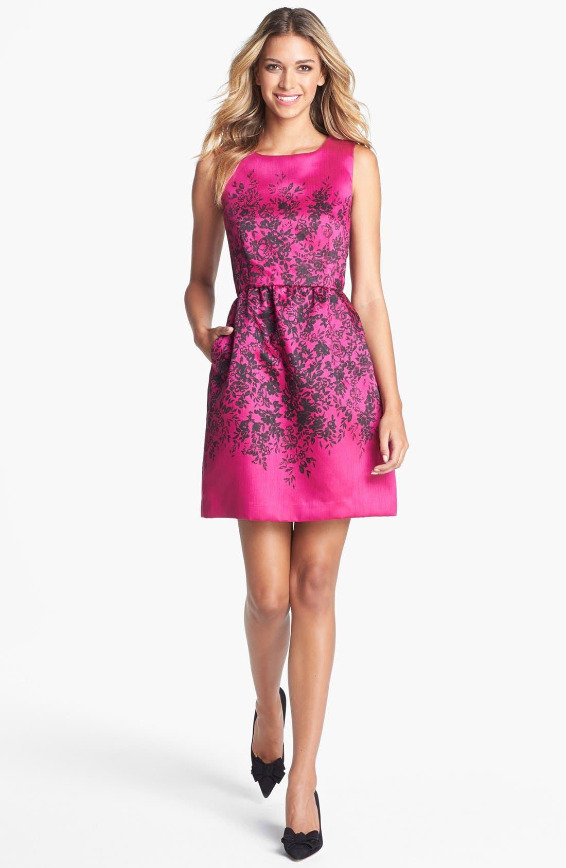 Alternate Image 1 Selected - Taylor Dresses Print Fit & Flare Dress