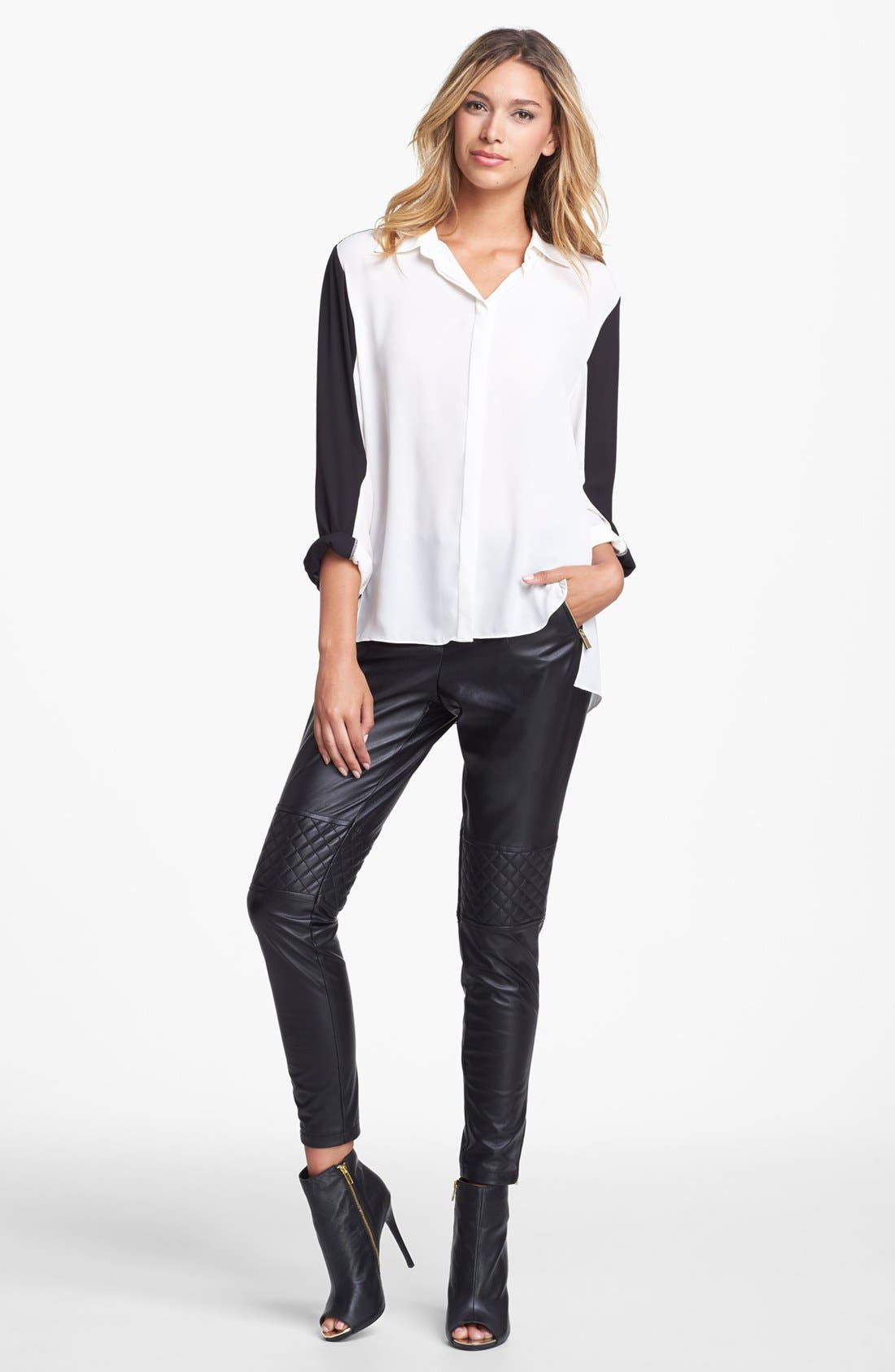 Alternate Image 1 Selected - Vince Camuto Colorblock High/Low Blouse (Online Only)