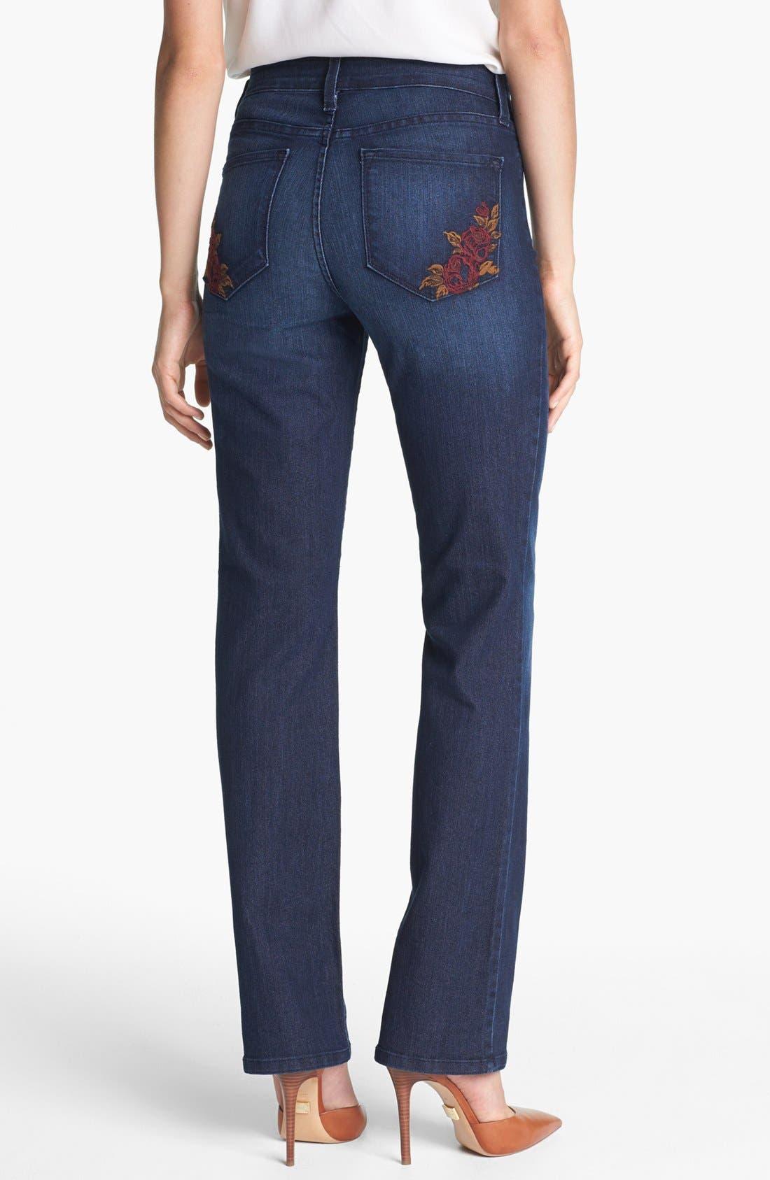 Alternate Image 3  - NYDJ 'Marilyn' Stretch Straight Leg Jeans (Dana Point) (Petite)
