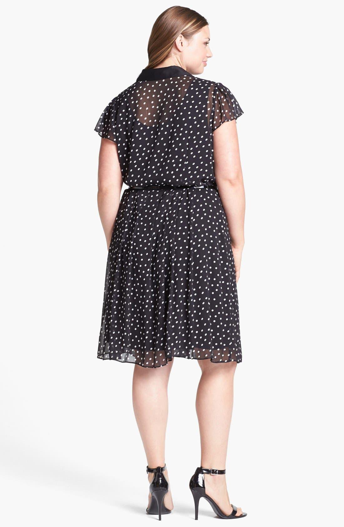 Alternate Image 2  - Donna Ricco Polka Dot Chiffon Shirtdress (Plus Size)