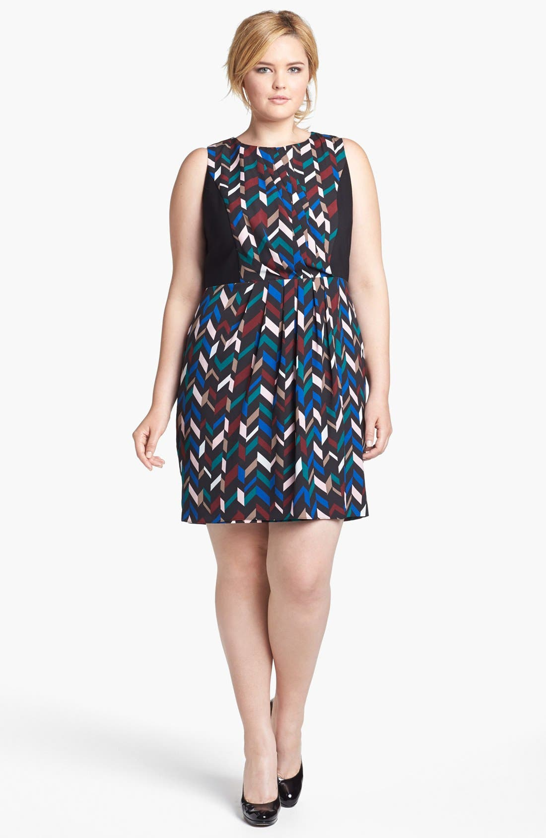 Main Image - DKNYC Geo Print Crepe Sheath Dress (Plus Size)