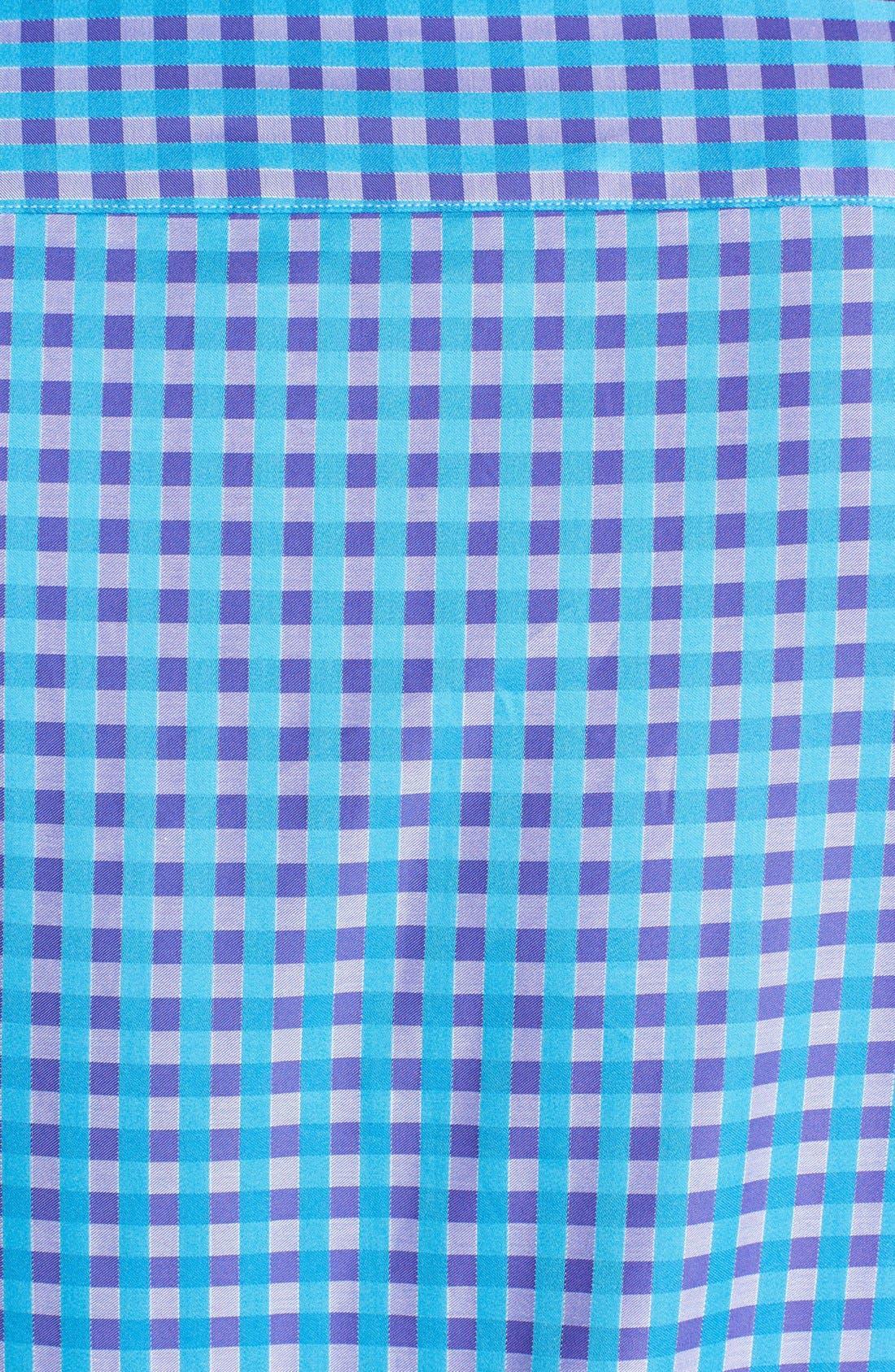 Alternate Image 3  - Bugatchi Gingham Shaped Fit Cotton Sport Shirt (Tall)
