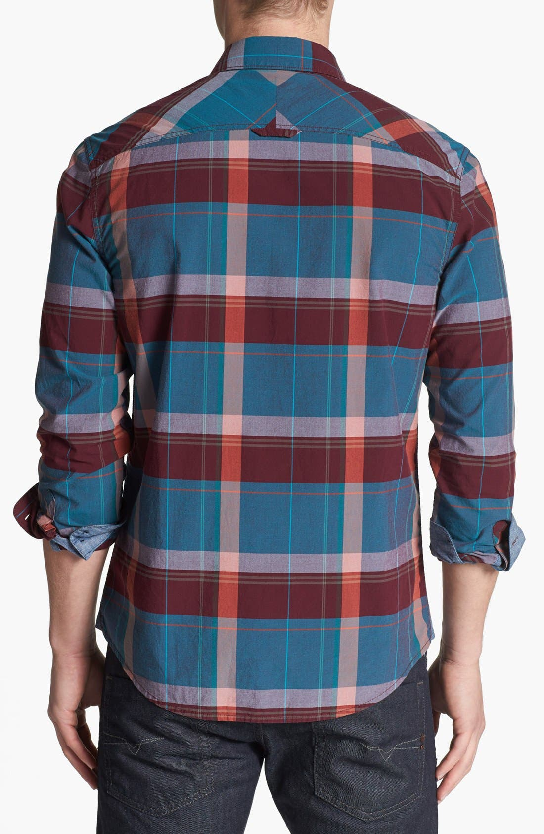 Alternate Image 2  - 1901 Trim Fit Plaid Poplin Shirt