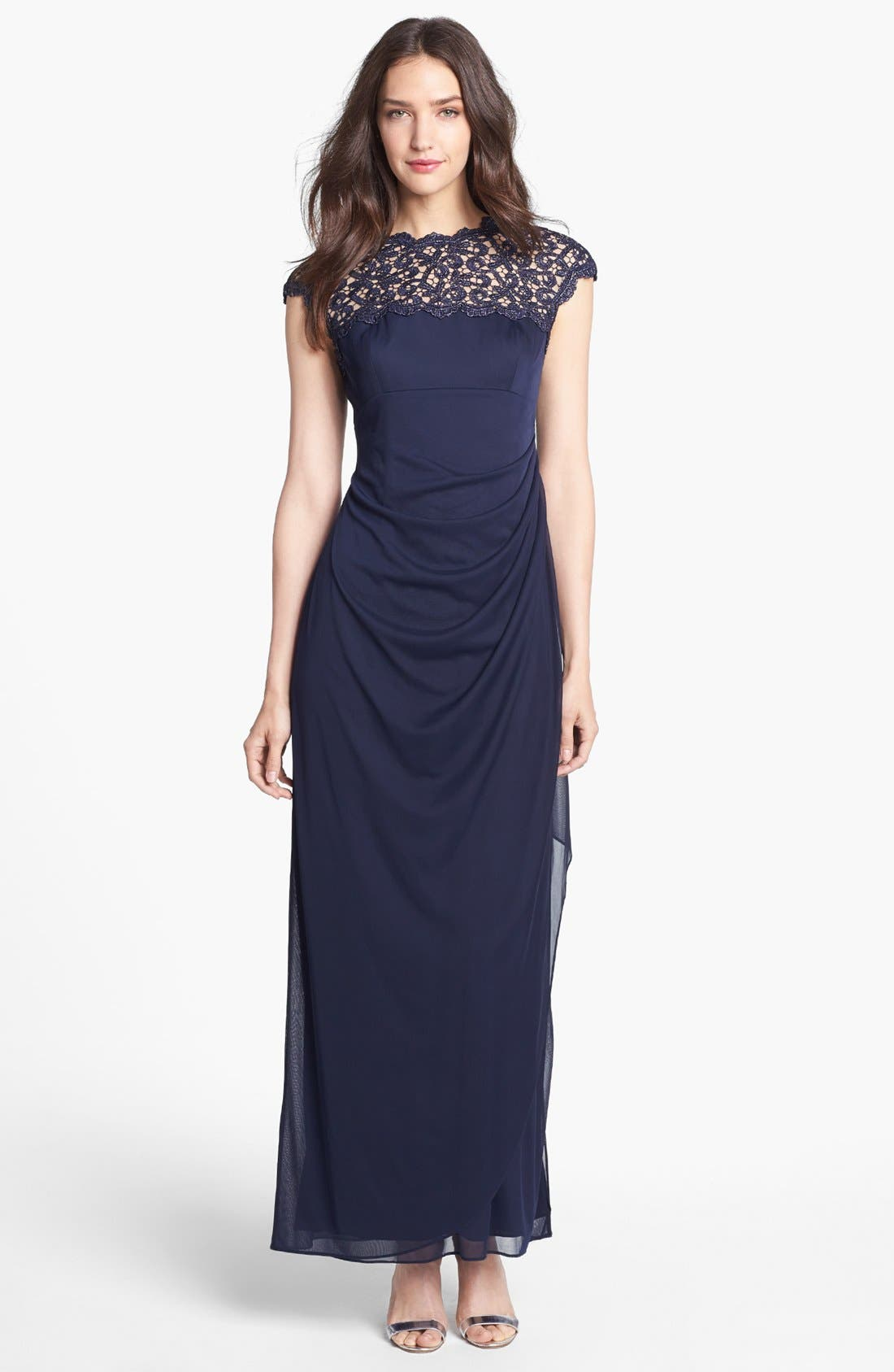 Illusion Yoke Mesh Gown,                         Main,                         color, Navy