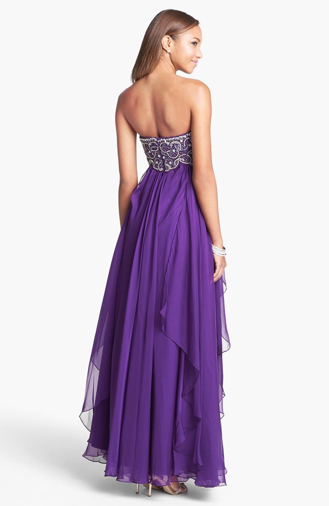 Alternate Image 2  - Sherri Hill Embellished Bodice Draped Chiffon Gown