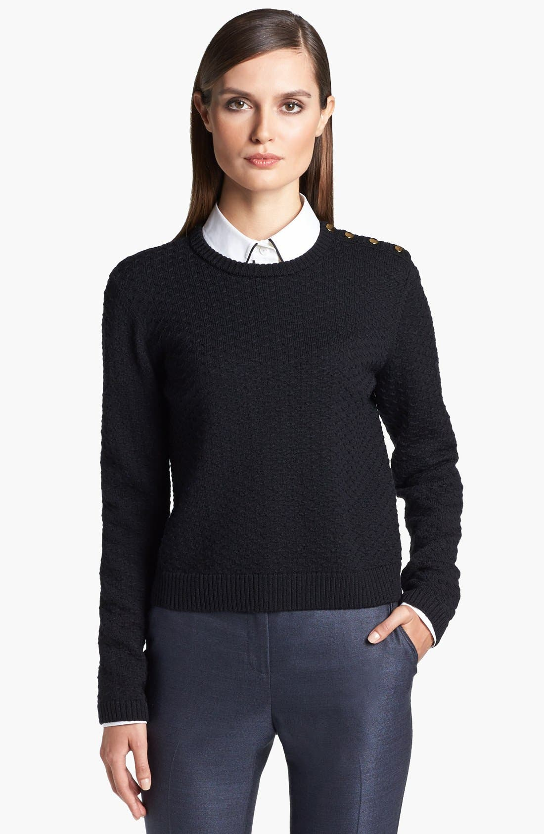 Alternate Image 1 Selected - St. John Yellow Label Shoulder Snap Eyelet Knit Sweater