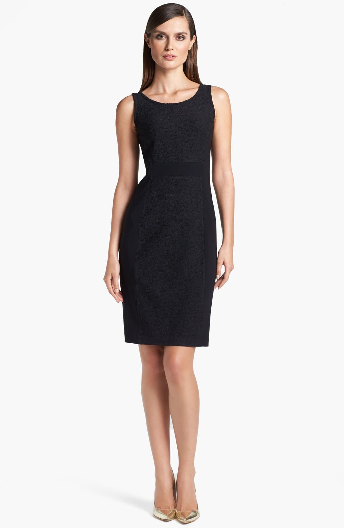 Main Image - St. John Collection Crepe Panel Bouclé Knit Dress