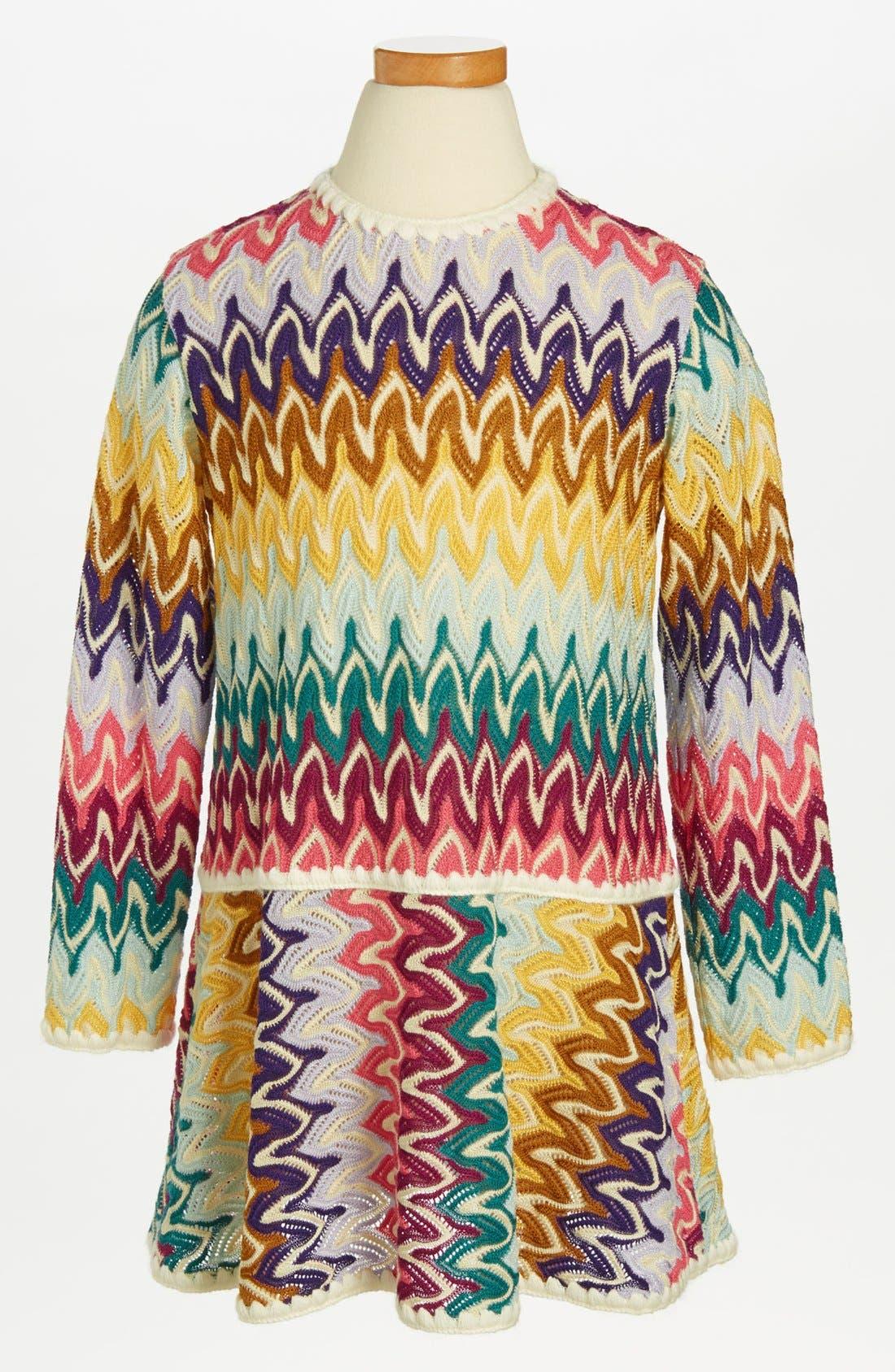 Main Image - Missoni Long Sleeve Crochet Dress (Toddler Girls, Little Girls & Big Girls)