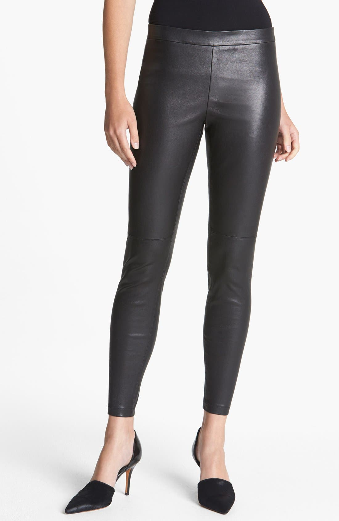 Alternate Image 1 Selected - Vince Cropped Leather Leggings
