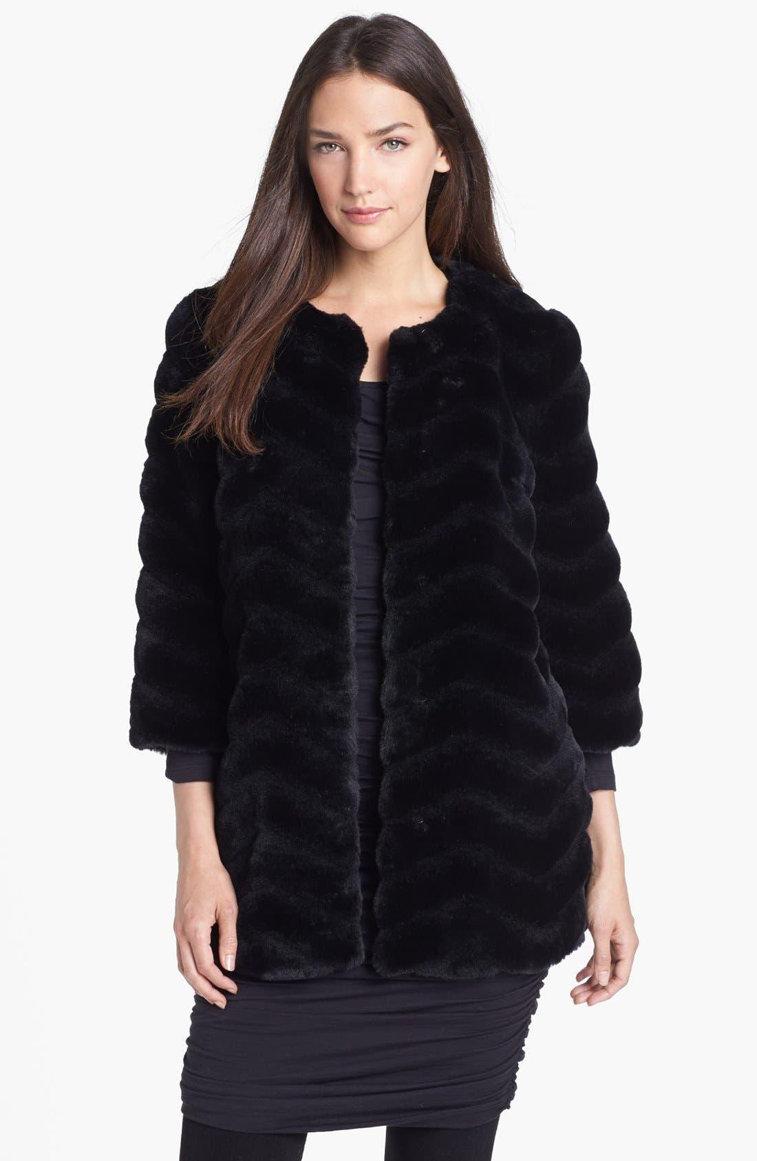 Alternate Image 1 Selected - Sam Edelman Chevron Faux Fur Coat