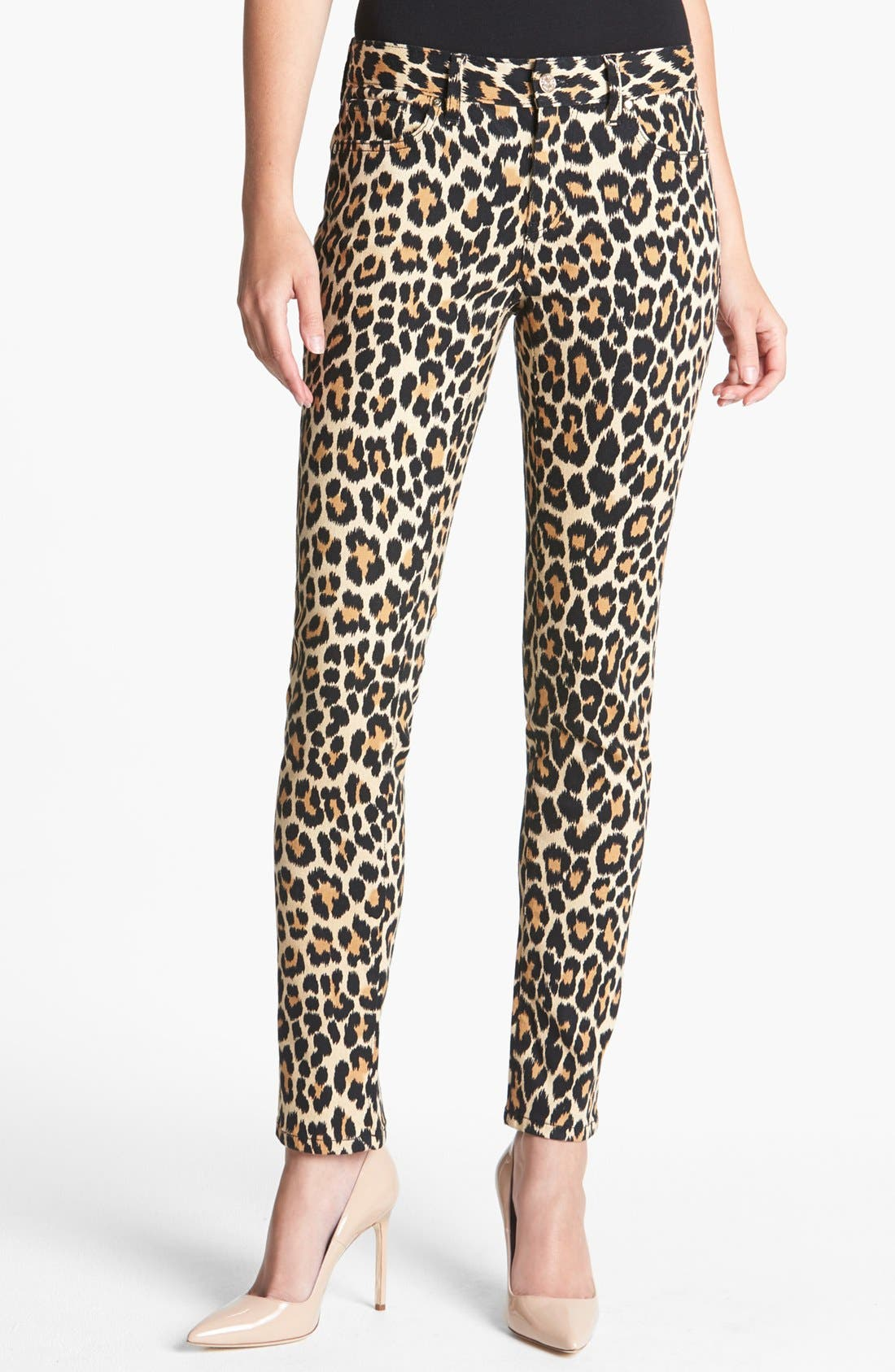 Main Image - kate spade new york 'broome street' print slim stretch jeans (neutral ikat animal)
