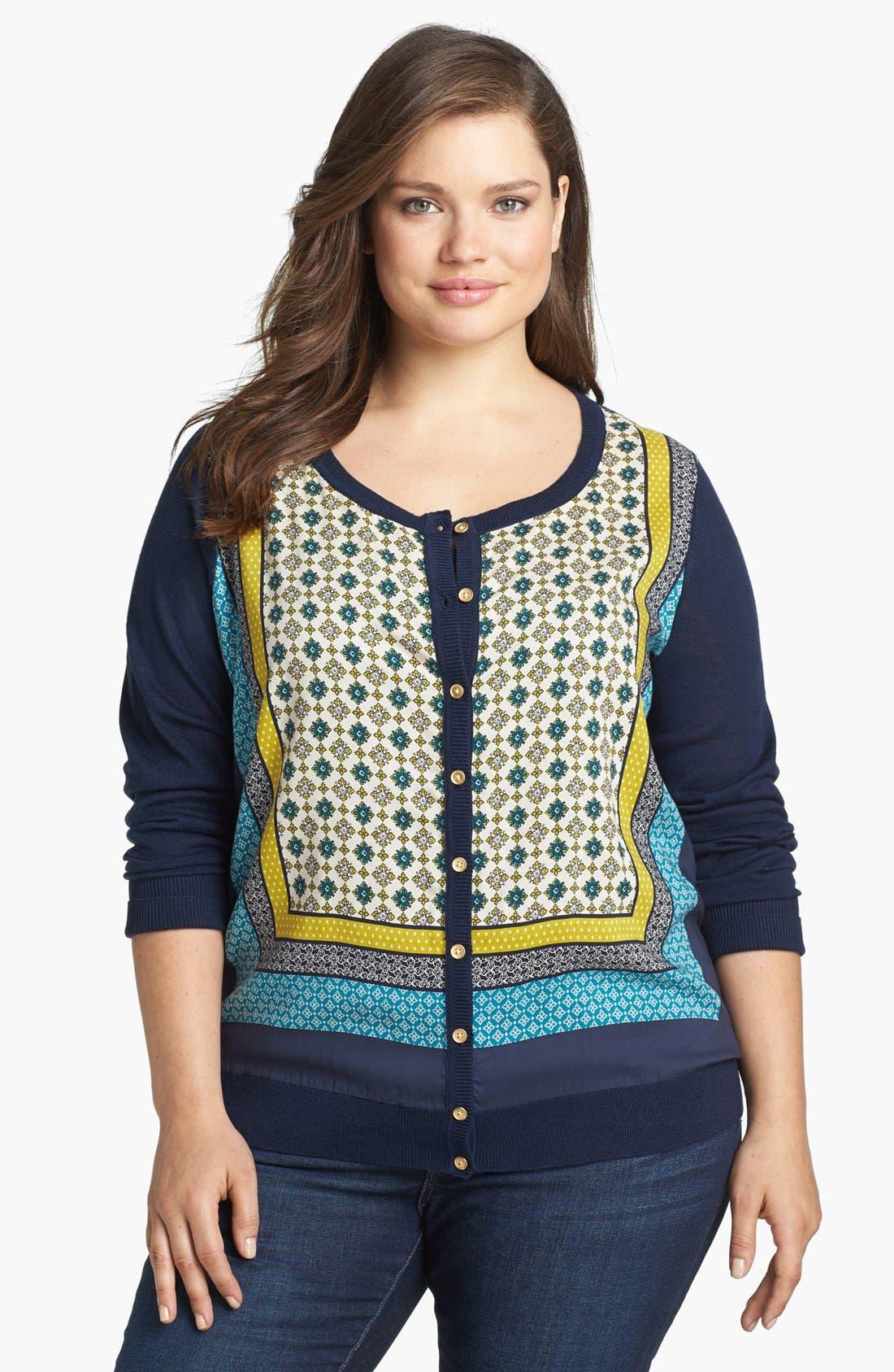 Main Image - Lucky Brand 'Simoni' Scarf Print Cardigan (Plus Size)