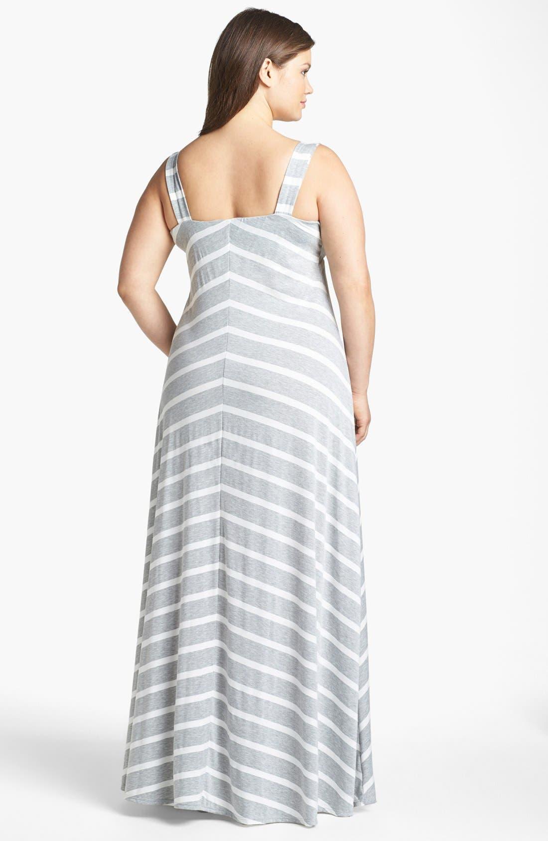 Alternate Image 2  - Eight Sixty Stripe Maxi Dress (Plus Size)